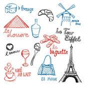 French Doodles vsechny — Stock Vector