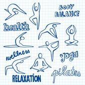 Yoga Doodles — Stock Vector