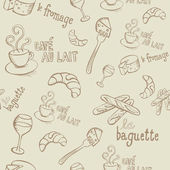 French Doodles Seamless Pattern — Stock Vector