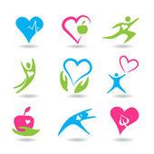 Neun ikonen mit gesunden herzen — Stockvektor