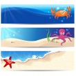 Banners With Sea Creatures — Stock Vector