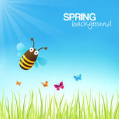 Spring Background With A Cute Bumblebee — Stock Vector