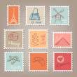 French Postage Stamps — Vector de stock