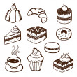 Collection of cake and bakery doodles — Vector de stock
