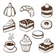 Collection of cake and bakery doodles — Vector de stock #21080067