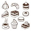 collection de doodles gâteau et boulangerie — Vecteur