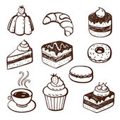 Collection of cake and bakery doodles — Stock Vector