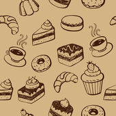 Cakes And Desserts Seamless Pattern — Stock Vector