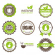 Organic Eco Badges — Stock Vector