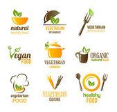 Vegetarian Food Icons — Stock Vector