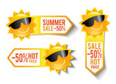 Summer Sales Stickers — Stock Vector