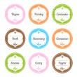 Spice Labels — Vettoriali Stock