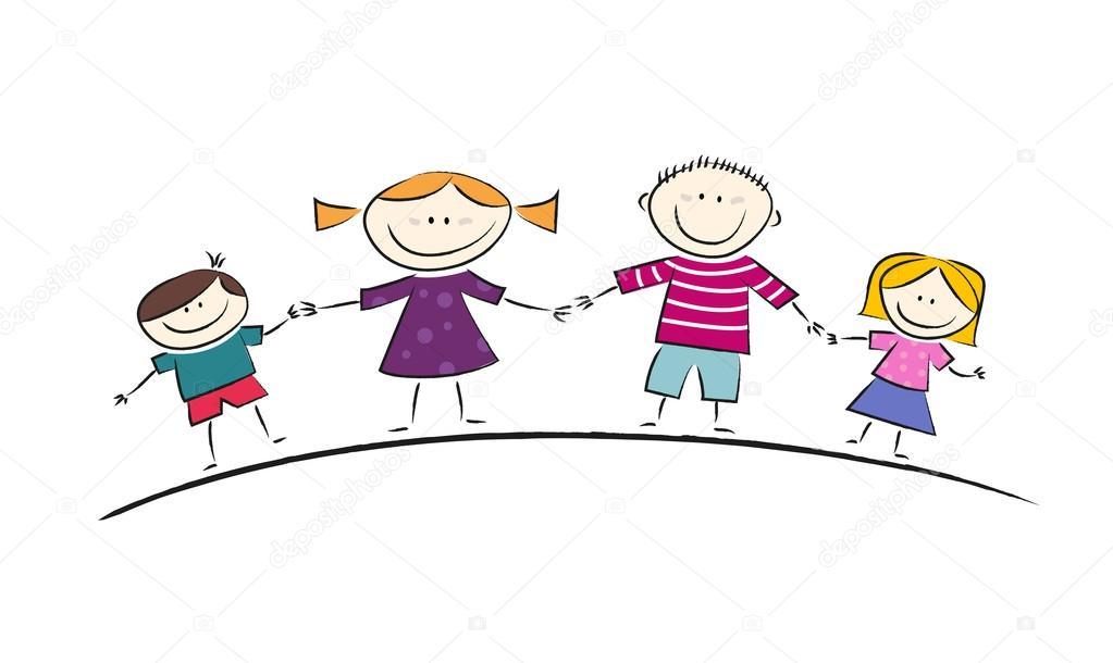 可爱的卡通与一个幸福的家庭