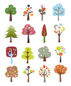 Collection of Cute Trees — Stock Vector