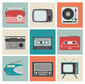 Retro Radio, TV and Other Electronic Equipment — 图库矢量图片