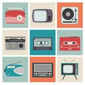 Retro radio, tv y otros equipos electrónicos — Vector de stock