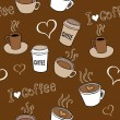 Coffee Doodles Seamless Pattern — Stock Vector