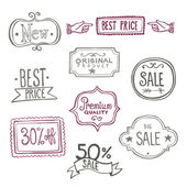 Sales Labels - Doodles — Stock Vector