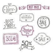 Sales Labels - Doodles — Stock Vector