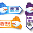 Stock Vector: Winter Sales Labels With a Snowman