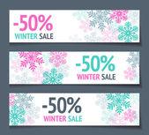 Banners de vendas de inverno — Vetor de Stock