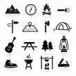 Outdoor Camping Icons — Stock Vector