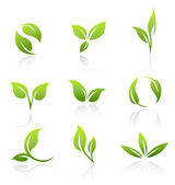 Vector Icons - Green Leaves — Vector de stock