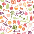 Stock Vector: Healthy Lifestyle Seamless Pattern