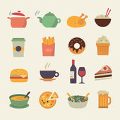 Flat Food Icons — Stock Vector