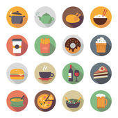 Flat Food Icons in Circles — Stock Vector