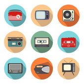 Retro Radio and TV in Flatdesign Style — Stock Vector