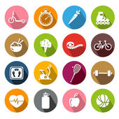 Healthy Lifestyle Icons - Flatdesign — Stock Vector