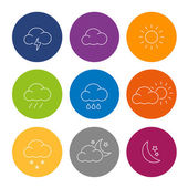 Weather Icons Flat Design — Stock Vector