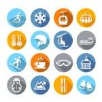 Winter Icons Flat Design — Stockvektor