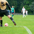 Soccer player kicks the ball. Horizontal image of soccer ball wi — Stock Photo