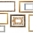 Set of golden and silver frame isolated on white background with clipping path — Stock Photo