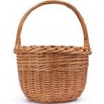 Wicker basket on white background — Stock Photo