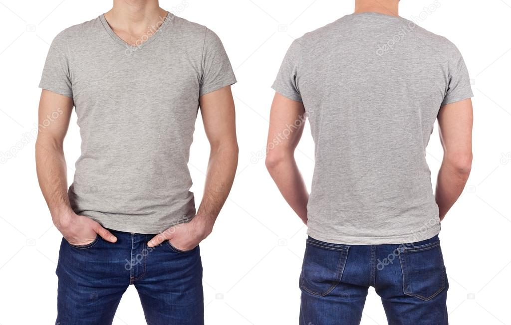 Front and back view of young man wearing blank gray t-shirt isolated ...