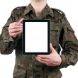 Soldier holding blank digital tablet isolated on white background. clipping path for the screen — Zdjęcie stockowe
