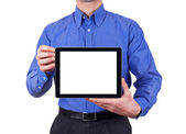 Man holding blank digital tablet with copy space and clipping path for the screen — ストック写真