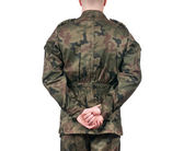 Back view of soldier isolated on white background — Stock Photo
