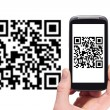 Scanning QR code with smart phone — Foto de Stock
