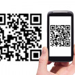Scanning QR code with smart phone — Lizenzfreies Foto