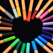 Pens in the form of heart — Stock Photo