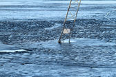 Frozen lake, covered with thin ice — Stock Photo