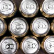 Much of drinking cans close up — 图库照片