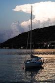 Coucher du soleil, bateau — Photo