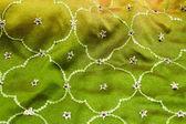 Green satin textile — Stock Photo
