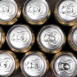 Much of drinking cans close up — Stock Photo