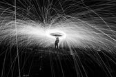 Showers of hot glowing sparks — Stock Photo